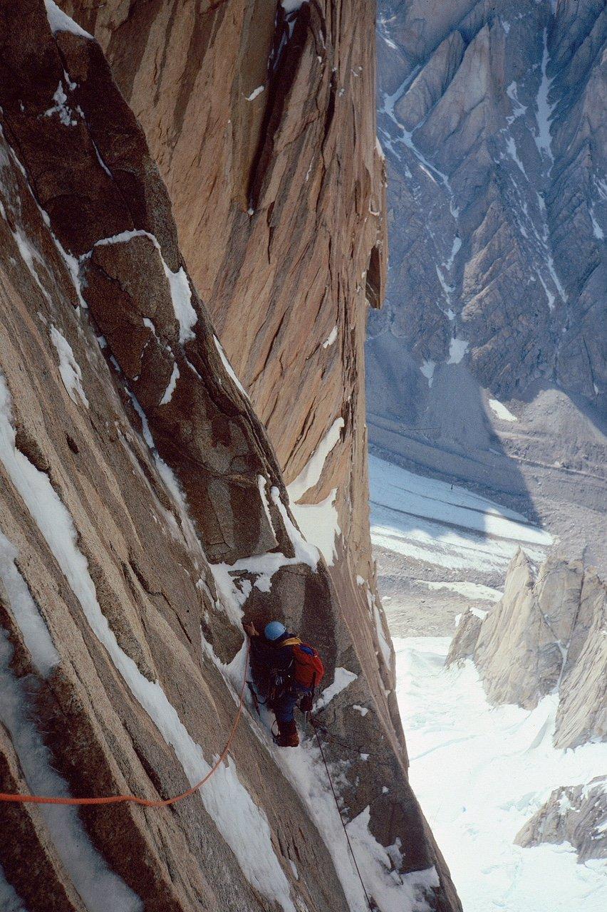 Jim Donini_Torre Egger climbing