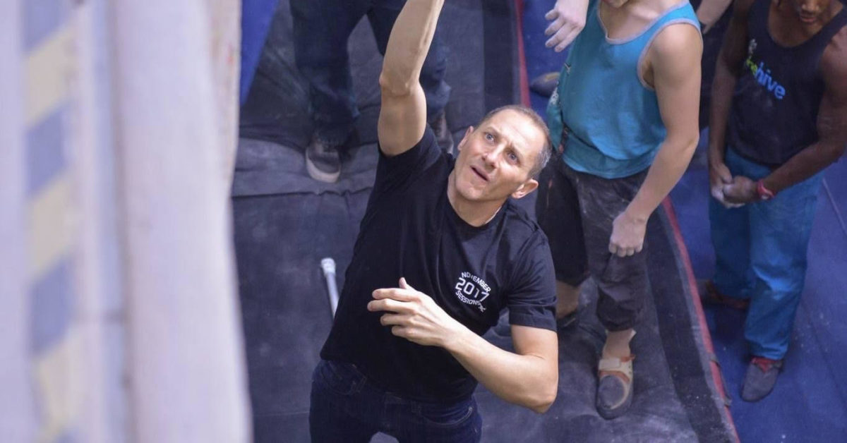Dan Poggi at climbing comps